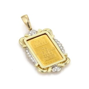 24k 10g Gold Credit Suisse Bar Diamodn 14k Gold Long Pendant