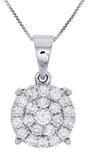 10k White Gold Diamond Circle Pendant Ladies Cluster Charm W Chain Ct.