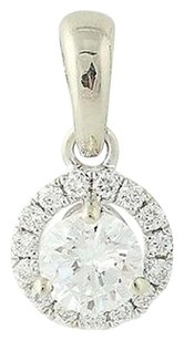 Diamond Pendant - 14k White Gold Halo Round Cut .49ctw