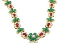 Other Estate 18k Yg Diamond Ruby Emerald Cabochon Floral Link Necklace