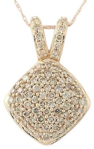 Other Diamond Cluster Pendant Necklace 18 - 10k Rose Gold Champagne Brown 1.00ctw