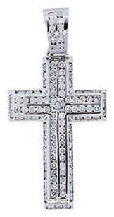 14k White Gold Carat Diamond Pave Cross Pendant