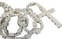Other Mens White Finish Simulated Diamond 3d Rosary Chain Necklace 348 Inch