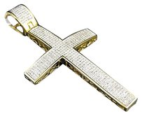 Other Mens Elegant 14k Yellow Gold Finish Genuine Diamond Cross Pendant Inch Ct
