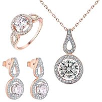 Rose Gold Tone Earrings Solitaire Ladies Ring Pendant Necklace Gift 925 Silver
