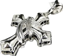 Mens,White,Gold,Finish,3.7,Inch,Diamond,Cross,1.5,Ct