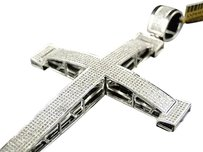 10k,Mens,Extra,Large,Solid,White,Gold,4,Inch,Diamond,Cross,Pendant