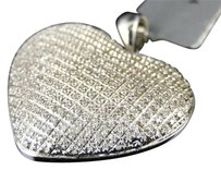 White,Gold,Finish,Ladies,Puffed,Heart,Pave,Clear,Diamond,Pendant,Charm,.52,Ct