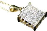 Other 14k,Yellow,Gold,Genuine,Real,Diamond,Princess,Cut,Pendant,And,Chain