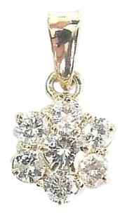 Fine Round Cut Diamond Circular Cluster 7-stone Yellow Gold Pendant 1.00ct
