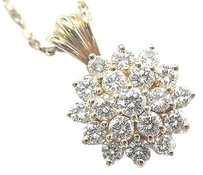 Fine,Circular,Cluster,Diamond,Yellow,Gold,Pendant,Necklace,14kt,1.00ct
