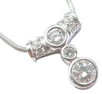 Fine,Round,Diamond,Bezel,Set,White,Gold,Pendant,Necklace,14kt,.62ct,18