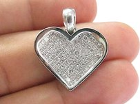 Fine Princess Cut Diamond White Gold Heart Pendant Invisible Set 2.00ct 1.25