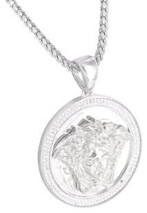 Sterling Silver Simulated Diamond Medusa Head Pendant In White Gold Finish