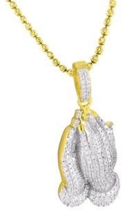Sterling Silver Iced Out Lab Diamond Praying Hands Pendant Set 14k Gold Finish