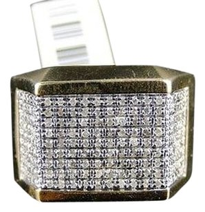 Mens,Xl,Yellow,Gold,Finish,Genuine,Diamond,Pave,Pinky,Fashion,Band,Ring,1.0,Ct