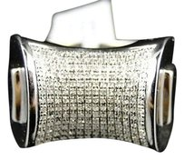 Mens,Xl,.925,White,Gold,Finish,Genuine,Diamond,Pave,Setting,Pinky,Ring,.75,Ct