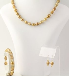 Other Jewelry Set - Golden Ringed Pearls Citrine Earrings Necklace Bracelet