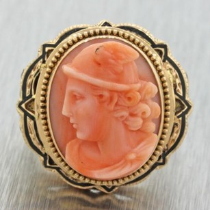 1890s Antique Victorian 14k Solid Yellow Gold Carved Coral Cameo Enamel Ring 14g