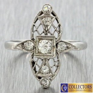 1920s Antique Art Deco 14k Solid White Gold Diamond Filigree Engagement Ring