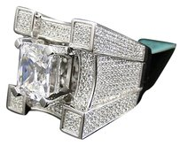 Mens Iced Out 3d Solitaire Castle Simulated Lab Diamond Pinky Ring