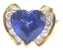 18kt Gem Tanzanite Heart Shape Diamond Yellow Gold Jewelry Ring 5.12ct