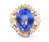 Other Fine Oval Tanzanite Diamond 14kt Yellow Gold Solitaire W Accent Ring 6.38ct