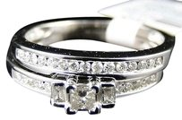 10k,Ladies,White,Gold,Princess,Diamond,Engagement,Wedding,Duo,Ring,Set,.45,Ct