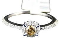 10k,White,Gold,Ladies,Brown,Round,Cut,Diamond,Wedding,Engagement,Ring,.36,Ct
