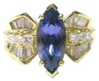 Fine,18kt,Gem,Tanzanite,Marquise,Diamond,Ring,Yg,3.96ct