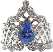 Fine,Vintage,Gem,Tanzanite,Diamond,Jewelry,Ring,14kt,