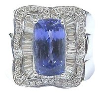 18kt,Gem,Tanzanite,Multi,Shape,Diamond,White,Gold,Jewelry,Ring,7.08ct,Unisex