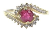 Fine,Gem,Ruby,Diamond,Swirl,Yellow,Gold,Jewelry,Ring,.95ct