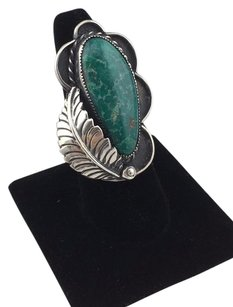Other 925 Sterling Silver Leaf Design Tear Drop Turquoise Stone Ring