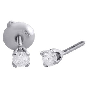 14k White Gold Solitaire Round Diamond Studs 2.75mm Screw Back Earrings 0.17 Ct.