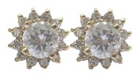 Fine Round Cut Diamond Stud Earrings With Jacket Yellow Gold 14kt .90ct