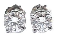 Other Fine Round Cut Diamond Stud Earrings 1.00ct Screw Back White Gold 14kt F-vvs1