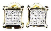 Sterling Silver Lab Diamond Prong Square Stud Earrings In Yellow Gold Finish