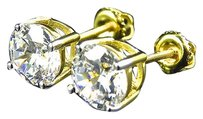 Other Yellow Gold Over Sterling Silver Simulated Diamond Solitaire Stud Earrings 7mm