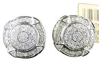 10k,Mens,White,Gold,Handset,White,Diamond,Round,Stud,Earrings,13,Mm