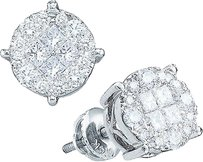 14k,Solitaire,Look,Princess,And,Round,Cut,Si,Clarity,Diamond,Stud,Earrings,6,Mm