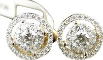 Mens,Ladies,14k,Yellow,Gold,Solitaire,Look,Vs,Diamond,Stud,Halo,Earrings,1.5,Ct