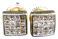 Mens,Or,Ladies,10k,Yellow,Gold,7,Mm,Princess,Cut,Diamond,Stud,Earrings,.85,Ct