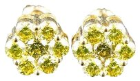 Other 10k,Mens,Ladies,Yellow,Gold,10,Mm,Canary,Diamond,Cluster,Stud,Earrings,2.5,Ct