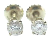Fine Round Cut Diamond Stud Earrings .56ct Screw Back Yellow Gold