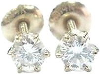 Fine Round Cut Diamond Stud Earrings .46ct Screw Back Yellow Gold