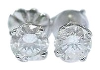Fine Round Cut Diamond Stud Earrings .75ct Push Back White Gold H-si2