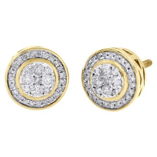 Other 10k Yellow Gold Real Diamond Studs 10mm Circle Halo Frame Pave Earring 0.50 Ct.