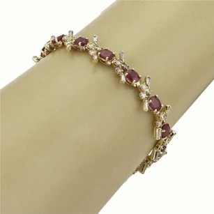 Estate 9.75ct Ruby Diamond Fancy Link Tennis Bracelet In 14k Yellow Gold