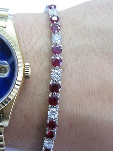 Fine,Gem,Ruby,Diamond,Tennis,Bracelet,Wg,10.22ct